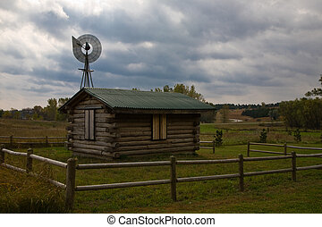 lonely cabin - a deserted cabin in a local park near omaha,...