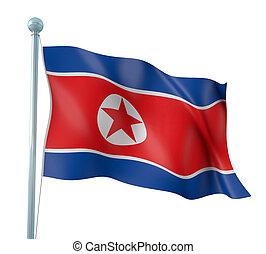 Flag of North Korea - 3D Illustration of Detailed Flag...