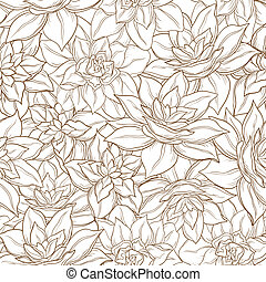Seamless floral background, narcissus flowers contour on...