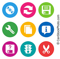 color basic interface icons - color circular basic interface...