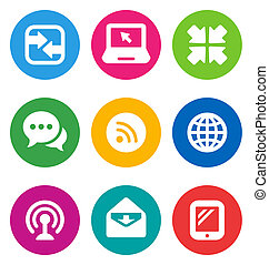 color communication icons - color circular communication...