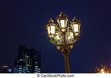old lantern by night in Frankfurt