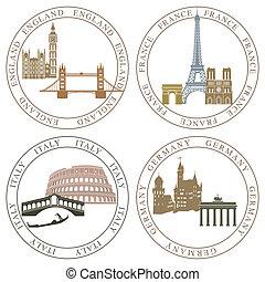 Europe landmarks and main cities