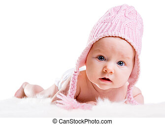 Winter Baby - Portrait of three months old baby girl wearing...