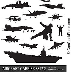 Naval aviation silhouettes - Aircraft carrier and naval...