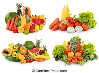 frutas, vegetales, aislado, W