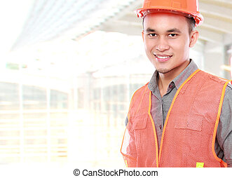 industrial worker bring equipment ready to work