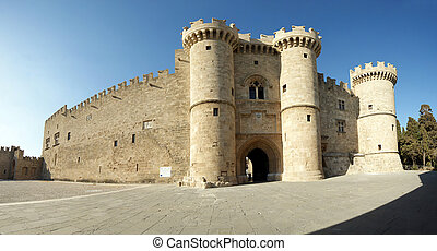 Rhodes Medieval Knights Castle Palace, panoramic view,...