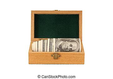 Hundred dollar bills money in a box