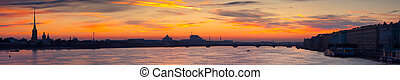 Panoramic view of Neva river in dawn