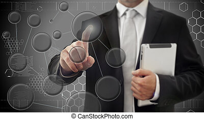 Business men touching a futuristic touchscreen interface