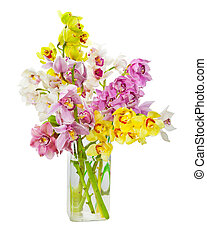 Bouquet of orchid flowers in glass vase isolated over white...