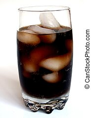Ice cold cola in a glass with condensation on the outside