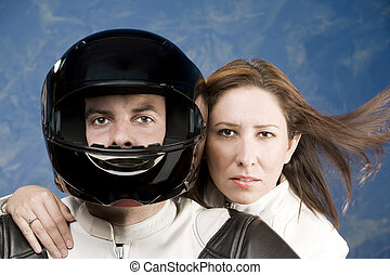 Man and woman on a motorcycle