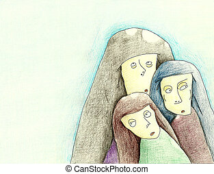 three women seems to be nuns, conventuals