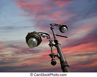 Decorative Street Light on the sky background