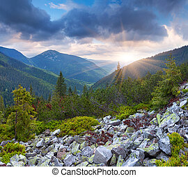 Dramatic summer landscape in the mountains. Sunset