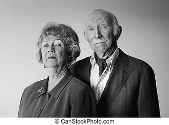 Snooty Senior Couple - Portrait of Wealthy and Snooty Senior...