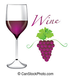 Glass of wine - Bunches of grapes vector - The abstract of...