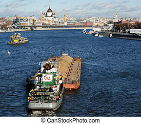 View of Moscow, Russia. View of Moscow, Russia. Boats on the...