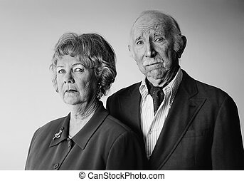 Snooty Senior Couple with Strong Woman - Portrait of Wealthy...