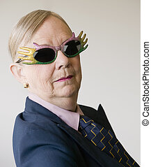 Dramatic Senior Woman Wearing Funny Glasses - Senior woman...