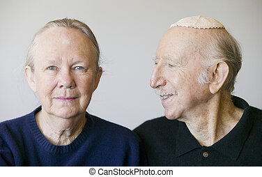 Eldery Jewish Couple - Close-up of eldery Jewish couple in...