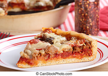 Deep Dish Pizza Slice - Slice of deep dish pizza on a plate