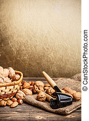 Still life of nuts fruit