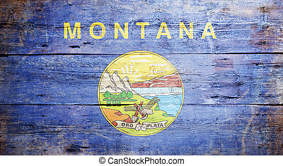 Flag of Montana painted on grungy wooden background