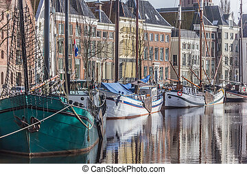 Groningen Hoge der Aa - Old ships and warehouses in the...