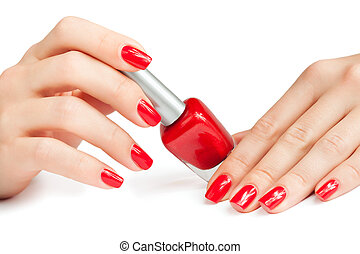 manicure applying nail polish isolated - manicure applying...