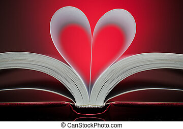 sign of heart with book pages on the red - sign of heart...