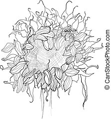 pencil drawing sunflower sketch