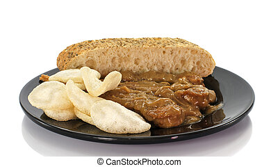 asian dish with bread and sate on white background