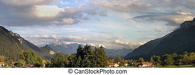 The Allgaeu Alps in Bavaria - Panorama view on Pfronten in...