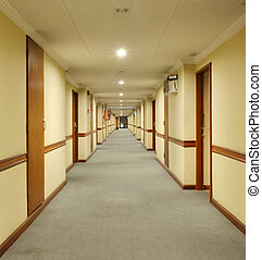 beautiful hotel corridor with carpet