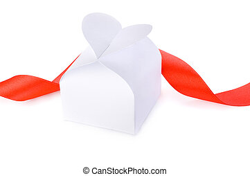 White gift box with a clasp in the form of heart and red ribbon Isolated on white background