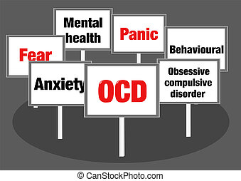 OCD signs - Obsessive compulsive disorder OCD concept...
