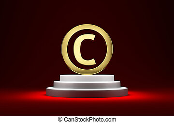Copyright symbol on the podium - Golden copyright symbol on...