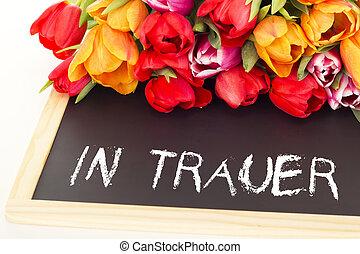 mazzo, Tulips, blackboard:, lutto