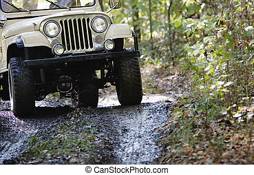 Off Road Vehicle Front End Driving - Headlights and grille...