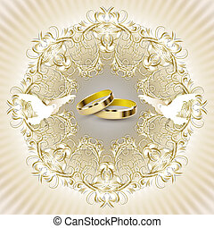 Wedding invitation card with beautiful decorations, pigeons...
