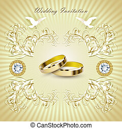Romantic wedding invitation card with rings and pigeons.