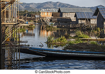 Myanmar, village on the lake