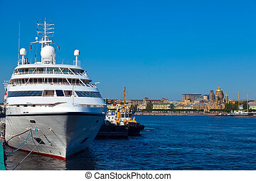 cruise liner at Saint Petersburg port - luxury cruise liner...