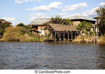 Myanmar, village on stilts over the lake