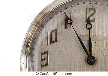 detail of old pocket watch isolated on the white background
