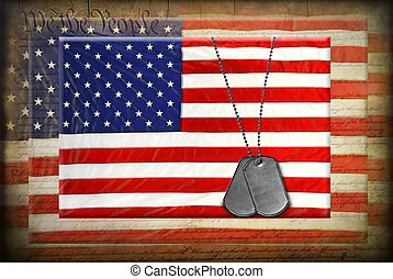 dog tags on American flags - Grungy textured overlay on...