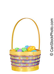 Isolated easter eggs in basket